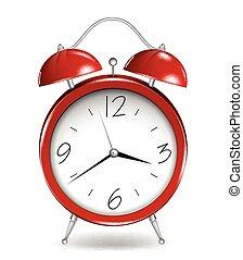 reveil, vecteur, rouges, clock.