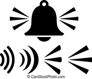 reveil, vecteur, signal, icône