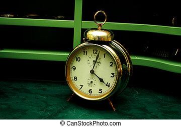 reveil, vieux, or, horloge