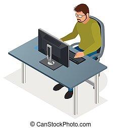 revelador, usar la computadora portátil, computer., cinche...