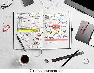 revelador, workplace., abierto, bloc, con, mano, dibujado, sitio web, projec