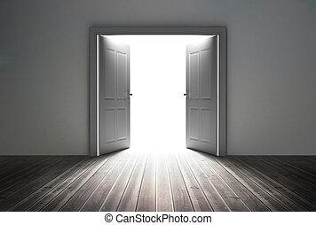 reveladoras, luz, puerta, brillante