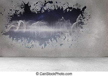 reveladoras, pared, energía, salpicadura, onda