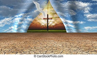 revelar, luz, céu, crucifixos, lugar, além, puxado, à parte