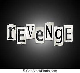 Revenge concept. - Illustration depicting cutout printed...