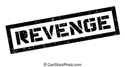 Revenge rubber stamp on white. Print, impress, overprint.