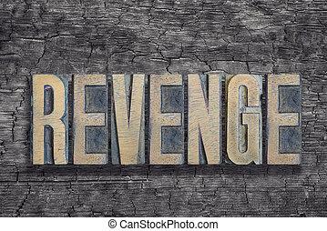 revenge word burned wood - revenge word made from vintage...