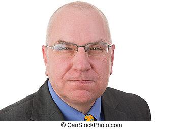 Revengeful middle-aged bald businessman - Portrait of an ...