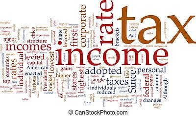 revenu impôts, mot, nuage