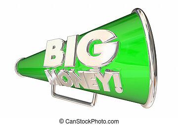 revenu, profit, argent, revenu, illustration, bullhorn, grand, porte voix, 3d