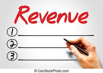 REVENUE blank list, business concept