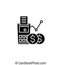 Revenue calculation black icon concept. Revenue calculation flat vector symbol, sign, illustration.