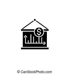 Revenue dynamics black icon concept. Revenue dynamics flat  vector symbol, sign, illustration.