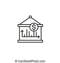 Revenue dynamics linear icon concept. Revenue dynamics line vector sign, symbol, illustration.