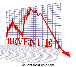 Revenue Graph Negative Represents Income Down 3d Rendering -...