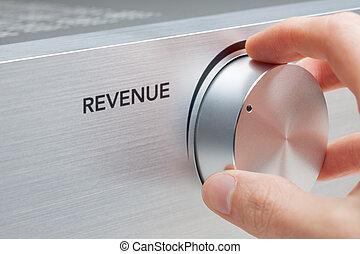 Revenue - Increase revenue concept. Businessman help to...