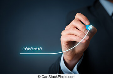 Revenue - Increase revenue concept. Businessman plan revenue...