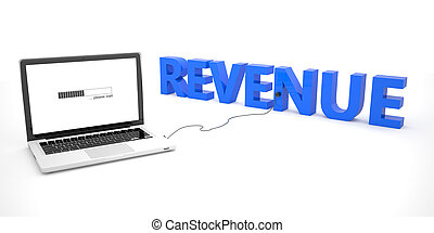 Revenue - laptop notebook computer connected to a word on white background. 3d render illustration.