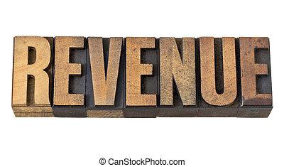 revenue word in vintage wood type