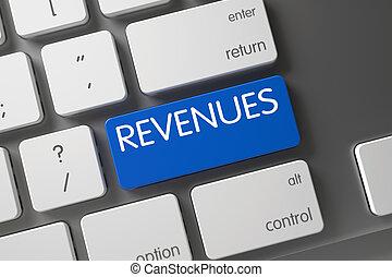 Revenues - Blue Computer Key. 3D.
