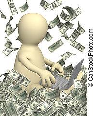 revenus, dans, internet