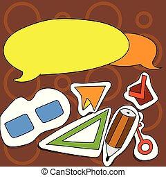 revers, anders, activities., direction., kleurrijke, iconen, sticker, tegenoverstaand, twee, illustratie, creatief, kruis, stijl, gevarieerd, leeg, toespraak, bevordering, bel, interesses, ronde
