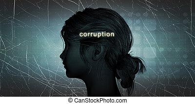 revers, vrouw, corruptie