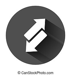 Reverse arrow sign icon in flat style. Refresh vector...