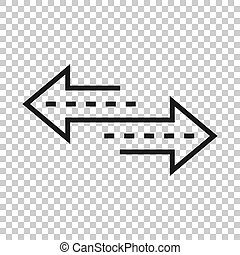 Reverse arrow sign icon in transparent style. Refresh vector...