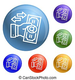 Reverse bribery icons set 6 color isolated on white...