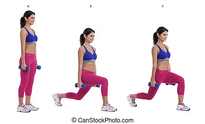 Reverse dumbbell lunge - Step by step instructions: Hold a ...