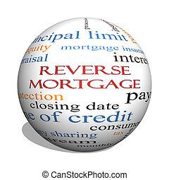 Reverse Mortgage 3D sphere Word Cloud Concept