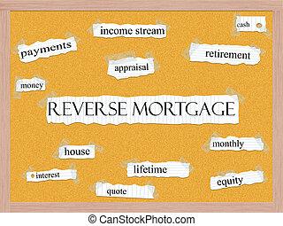 Reverse Mortgage Corkboard Word Concept