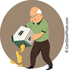 Reverse mortgage - An elderly man holding a coin bank in a...