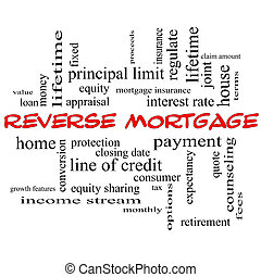 Reverse Mortgage Word Cloud Concept in red caps with great...