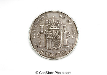 reverse of a coin of 5 pesetas, hard, finalnes nineteenth century, Alfosnso XIII, silver