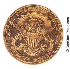 Reverse of Twenty Dollar Double Eagle Gold Coin Reverse on White Background