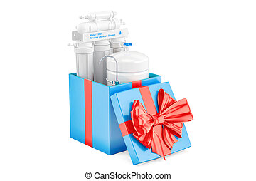 Reverse osmosis system inside gift box, gift concept. 3D...
