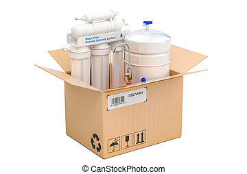 Reverse osmosis system inside parcel, delivery concept. 3D...