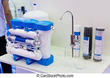 Reverse osmosis, water cleaning filter, exhibition stand. ...