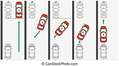 Reverse parallel parking. Flat vector.