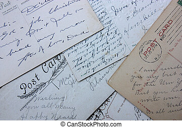 Reverse side of an old post card with the postage stamp and handwriting