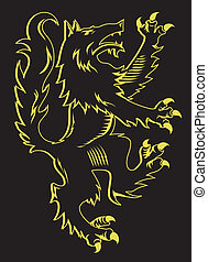 A medieval rearing wolf illustration on black