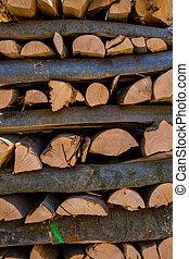 reversed-cut, troncos, árvore