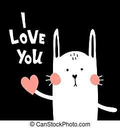 reversed love bunny - vector greeting card, cute bunny on a...