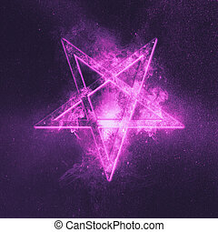 Reversed Pentagram symbol. Abstract night sky background.
