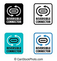 """""""Reversible connector"""" data cable, information sign"""