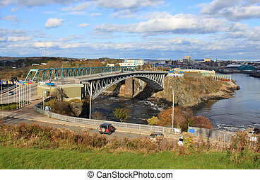 Reversing Falls bridge, Saint John NB - View of downtown...