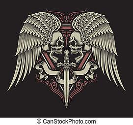 revestida, espada, alas, cráneo, dos, y