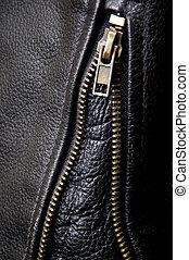 revestimento couro, biker, zipper, detalhe